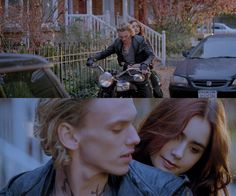 Jace & Clary - The Mortal Instruments: City of Bones Vampire Motercycle Clary And Jace, Clary Fray, To The Bone Movie, City Of Glass, City Of Ashes, Jace Wayland, Jamie Campbell Bower, Clace, The Dark Artifices