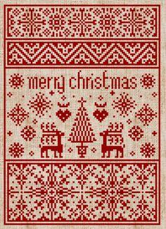 "make a similar red and white samplar: change to say ""Glædelig Jul"" (danish) or ""God Jul"" (Swedish) or ""Gleđileg jól"" (Icelandic) or  ""gojan Kristnaskon"" (esperanto)"