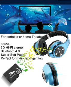 0c88d5c9c6d 8 track deep bass 3D HI-FI stereo sound Bluetooth headband headset HD  Series enthusiast