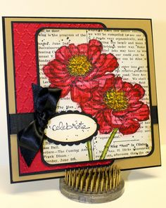 SU! Bloom with Hope, Good Greetings and Gorgeous Grunge stamp sets; Black StazOn, Old Olive, Cherry Cobbler, Baked Brown Sugar and Crushed Curry ink; Typeset DSP; Black, Baked Brown Sugar, Cherry Cobbler and Very Vanilla card stock; Aqua Painters; Fancy Fan embossing folder - Leslie Mahon