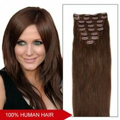 16 Inch 7pcs Clip-in Human Hair Extensions Straight (#4 Chocolate Brown)