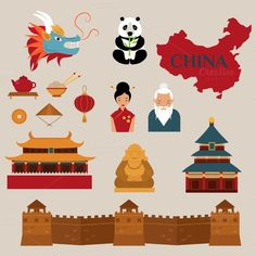 China vector icons. Travel Infographics. $5.00