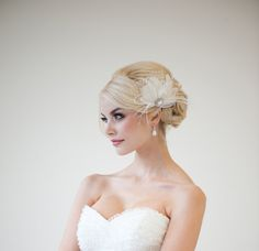 Bridal Fascinator Feather Wedding Head Piece by PowderBlueBijoux, $89.00