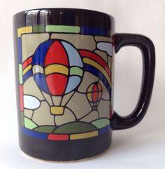 Hot Air Balloon Otagiri Mug Stained Glass Design Flowers Black Coffee Cup VTG