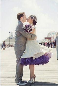 Plum and Grey Wedding beach board walk vintage style wedding dress with petticoat. #missbrache