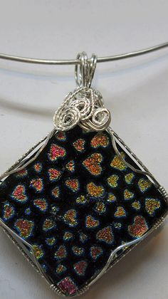Heart Fused Dichroic Glass Pendant WireWrapped in by SilverSpiral1, $46.00