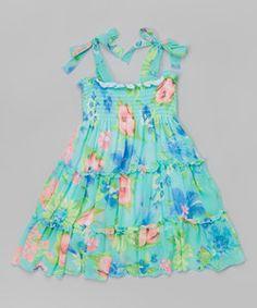 Purple Floral Shirred Dress - Toddler & Girls | zulily