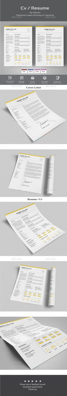 Professional Resume Template, CV Template Editable in MS Word and - resume template microsoft