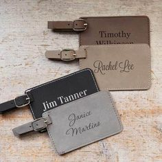 Shop our custom luggage tags and have them personalized for any traveler. A removable identification card makes them travel-ready for your next trip. Personalized Valentine's Day Gifts, Personalized Picture Frames, Personalized Wedding, Monogrammed Luggage Tags, Custom Luggage Tags, Unique Gifts For Employees, Leather Luggage Tags, Employee Gifts, Wedding Anniversary