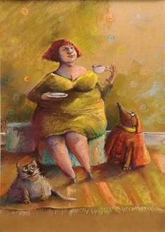 rysunek, kot, pies, zwierzęta Painting, Painting Art, Paintings, Painted Canvas, Drawings