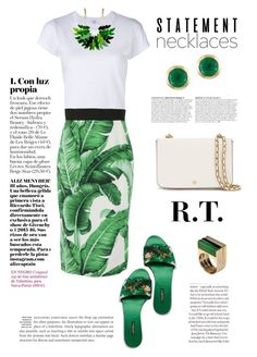 """""""R.T.-1418"""" by sopo-davituri ❤ liked on Polyvore featuring RE/DONE, Dolce&Gabbana, Tory Burch, Effy Jewelry, Anja and statementnecklaces"""