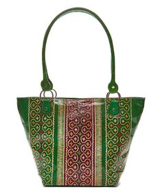 Another great find on #zulily! Green Moroccan Hand-Painted Leather Tote #zulilyfinds