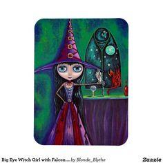 Big Eye Witch Girl with Falcon & Dragon Cute Rectangular Photo Magnet