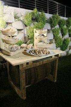 Wine barrell wedding table