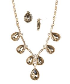 Another great find on #zulily! Gold & Topaz Crystal Teardrop Necklace & Earrings #zulilyfinds