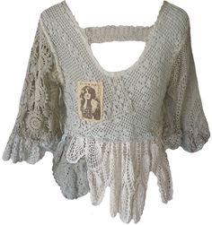 Magnolia Pearl: One-of-a-kind vintage crocheted lace top