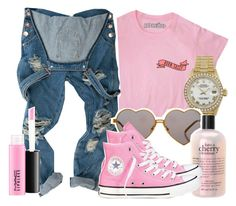 """""""Untitled #61"""" by trillqueen34 ❤ liked on Polyvore featuring MAC Cosmetics, Rolex, Wildfox, philosophy and Converse"""