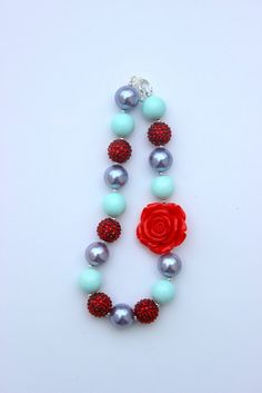 chunky necklace girls light purple red and by LightningBugsLane, $15.00