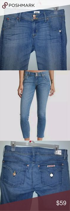 Hudson Collin Crop with raw hem Size 29, windswept blue, cute with a cuff!!! Worn only once Hudson Jeans Jeans