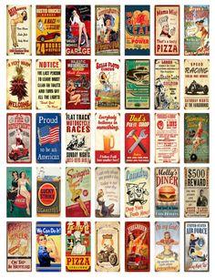 Vintage Signs Printable Digital Collage Sheet by shadowdancer2, $3.00 Domino Crafts, Domino Art, Vintage Labels, Vintage Signs, Vintage Prints, Vintage Posters, Paper Art, Paper Crafts, Psychedelic Rock