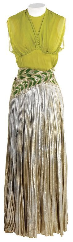 """Dance dress designed by Adrian and worn in """"Broadway Melody"""" of 1940."""