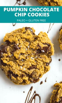 These paleo pumpkin chocolate chip cookies are the best! Easy to make with almond flour and soft in the middle you will love that they are also vegan and gluten free. #cookies #pumpkin #paleo #glutenfree Grain Free, Dairy Free, Gluten Free, Pumpkin Chocolate Chip Cookies, Paleo Treats, Almond Flour, Real Food Recipes, The Best, Ice Cream