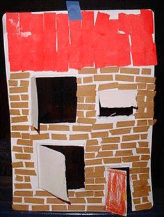 Geef ze een stuk karton en laat ze met logiblocs er ramen en deuren in tekenen. 2 De bruine stenen en rode dakpannen maken ze van vlechtrepen die ze steeds dubbel vouwen en  dan doormidden knippen tot zij de goede maat hebben. 3 Daarna plakken ze de stenen in de verspringende volgorde op elkaar  en de dakpannen over elkaar. 4 Maak een schoorsteen 5 Knip de ramen en deuren er uit of open.