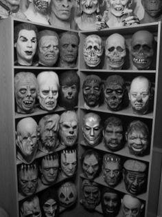 photography film Black and White creepy classic horror Halloween Monsters strange costume masks vampire Robot dracula frankenstein wolfman