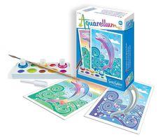 Le nombre limité de couleur et les motifs simples en font une méthode idéale pour débuter avec la technique de sertissage sur papier vélin #peinture #aquarelle #dauphins #peindre #loisircréatif