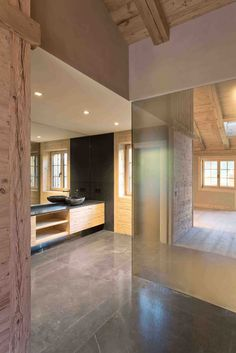 Residences de Rougemont smooth glass, metal and marble surfaces. Interior design by Plusdesign. Bronze Mirror, Master Shower, Rustic Charm, Textured Walls, Contemporary, Interior Design, Pictures, Natural Light, Glass