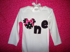 Girl 1st Birthday Minnie Mouse Polka Dot Onesie  Hot by SewDazzled, $19.50