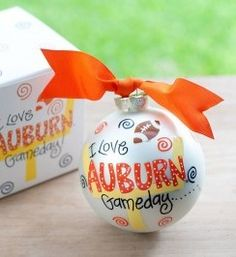 Any fan will cheer for this Auburn Gameday Ornament. Personalize it with a name and tailgate date for a special spirited keepsake. All collegiate ornaments come boxed and tied with a coordinating ribbon making them the perfect gift for anyone.