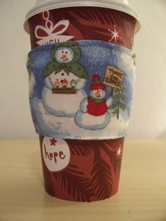 Cozy Joe Coffee Sleeve Snowman Family Reversible by ihandbags, $6.00