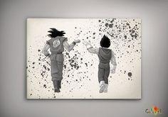 Goku Vegeta Dragon Ball Anime Manga Watercolor Print by EpicShoppe Manga Watercolor, Watercolor Walls, Wall Art Decor, Wall Art Prints, Wall Murals, Nerd Room, Dragon Ball Z Shirt, Elephant Tattoos, Game Room