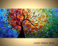 SEASONS Original Modern Abstract Whimsical Fantasy Landscape Tree Oil Painting Large Canvas by Luiza Vizoli