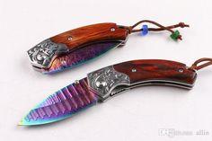 3pcs/lot Damascus folding knife 60HRC coloful titanium coated Natural cocobolo…