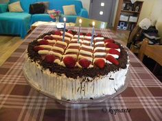My son's Birthday cake with strawberries and chocolate  Τούρτα με Φράουλες και Σοκολάτα http://www.kopiaste.info/?p=13606 #BirthdayCake #ΤούρταΓενεθλίων