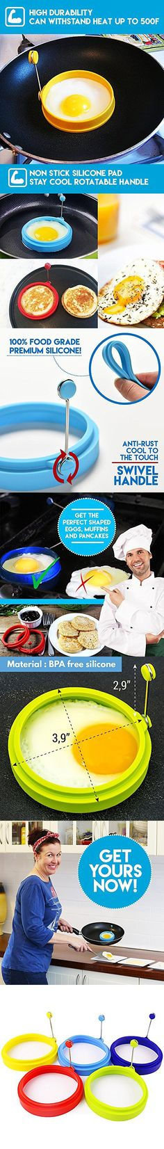 My Egg Ring | Set of 5 | Innovative 3.5 Inch Silicone Egg Ring Pancake Maker Non Stick Round Cooking Mold with Handle | Premium Food Grade Heat Resistant Silicone | Color May Vary | 1360