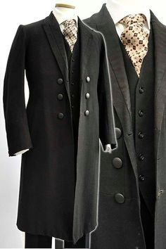 Mens Antique Victorian Wool Frock Coat Day Dress