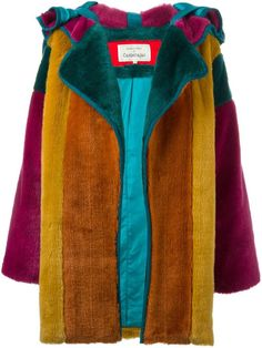 Jc de castelbajac vintage colour block faux fur coat
