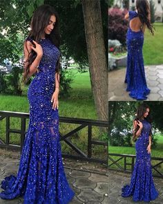 Mermaid Prom Dress with Beading,Royal Blue Sweep Train Prom Gowns,Lace Backless Prom Dresses,SIM629