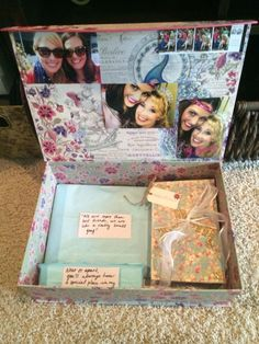 """""""Brides Box"""" for when my best friends get married! include any sentimental gifts you have for the Bride To Be and give them to her the night before her Big Day! Simply grab a box from Home Goods and tape pics to inside top of box and add personal gifts. Wedding Gifts For Bride, Sister Wedding, Trendy Wedding, Our Wedding, Bachelorette Gift For Bride, Gifts For The Bride, Bride Box Gift, Bride To Be Box, Best Friend Wedding Gifts"""