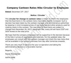 Company Canteen Rates Hike Circular to Employee Download in Word Format. Circular format for employees informing about increased rates of canteen food products.