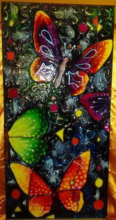 falso vitral en camba mariposas