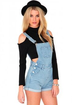 crop top with shoulder cut outs and high waisted overalls