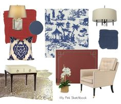blue and white toile with #red lacquer #metropolitan chic, #chinoiserie and #zebra rug, by @Alexandra Rae of http://mypinksketchbook.blogspot.com