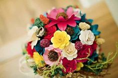 Wedding Bouquet Made of Assorted Wooden Flowers. yeah that's right, I said WOODEN! Wooden Flower Bouquet, Wooden Flowers, Paper Flowers Wedding, Wedding Bouquets, Rainbow Bouquet, Our Wedding, Wedding Ideas, Celtic Wedding, Wedding Stuff