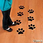 Paw Print Floor Decals....can use these to create a line for students to stand on by the door. Use white sharpie to write their numbers on it.