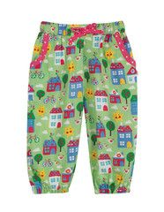 Frugi organic cotton baby girl pull up pants - fresh grass - happy city