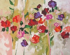 Abstract Floral Acrylic Painting Giclee Print Made by LindaMonfort